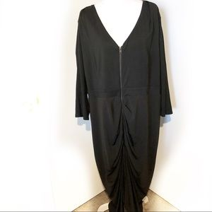 City Chic Black Zipper Dress Drape with Roughing